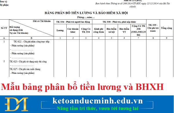 Mẫu bảng phân bổ tiền lương và bảo hiểm xã hội – Kế toán Đức Minh.