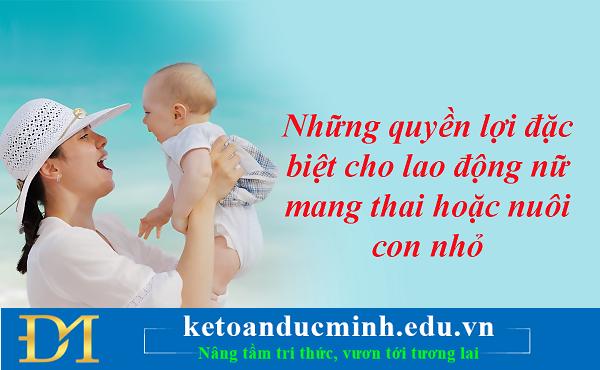 Những quyền lợi đặc biệt cho lao động nữ mang thai hoặc nuôi con nhỏ- Kế toán Đức Minh