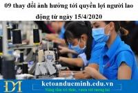 09 thay đổi ảnh hưởng tới quyền lợi người lao động từ ngày 15/4/2020 - KTĐM