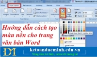Hướng dẫn cách tạo màu nền cho trang văn bản Word – Kế toán Đức Minh