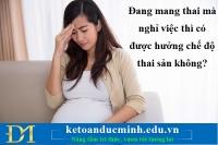 Đang mang thai mà nghỉ việc thì có được hưởng chế độ thai sản không?- KTĐM