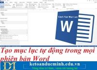 Tạo mục lục tự động trong Word chưa bao giờ dễ dàng đến thế - Tin học Đức Minh.