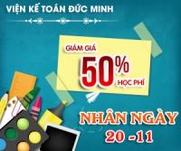 Chào mừng ngày Nhà giáo Việt Nam 20.11 giảm đến 50% học phí các khóa kế toán, tin học tại Đức Minh