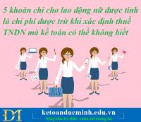 5 khoản chi cho lao động nữ được tính là chi phí được trừ khi xác định thuế TNDN mà kế toán có thể không biết