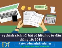 04 chính sách nổi bật có hiệu lực từ đầu tháng 10/2018 - Kế toán Đức Minh.