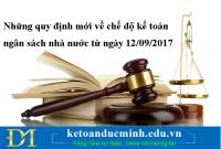 Những quy định mới về chế độ kế toán ngân sách nhà nước từ ngày 12/09/2017
