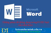 Những phím tắt thông dụng trong WORD bạn cần nắm được.