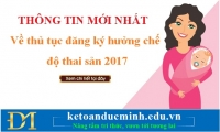 Thông tin mới nhất về thủ tục đăng ký hưởng chế độ thai sản 2017