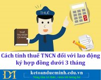 Cách tính thuế TNCN đối với lao động ký hợp đồng dưới 3 tháng - Kế toán Đức Minh.
