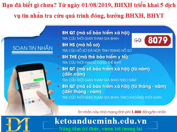 Bạn đã biết gì chưa? Từ ngày 01/08/2019, BHXH triển khai 5 dịch vụ tin nhắn tra cứu quá trình đóng, hưởng BHXH, BHYT